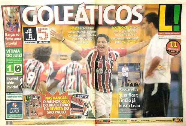 Há exatos 15 anos, em 8 de maio de 2005, Dia das Mães, o São Paulo goleou o Corinthians por 5 a 1 no Pacaembu. A manchete do L! no dia seguinte fazia alusão aos