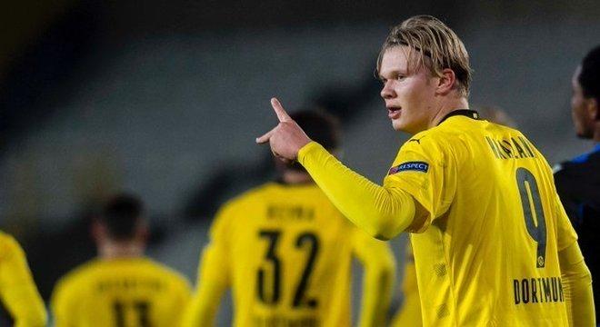Haaland, o autor de dois dos gols do Borussia Dortmund