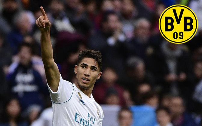 Hakimi. Posição: Lateral direito. Idade: 21 anos. Clube atual: Real Madrid. Clube interessado: Dortmund.