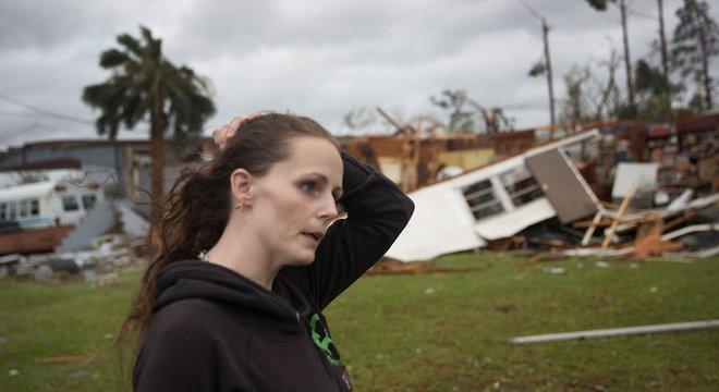 Trailer destruído em Panama City, na Flórida