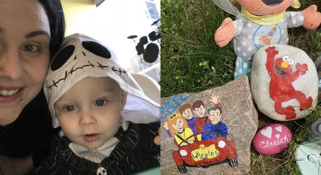 Para  conscientizar sobre o câncer infantil, mãe pintou pedras do túmulo do filho
