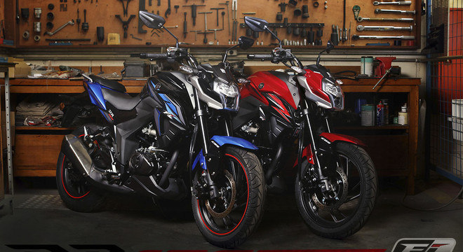 Duas opções de cores no mercado nacional: azul e vermelho com preto