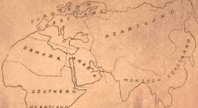 A teoria de Heartland define um território chave que, se for dominado por um país, se transformaria na potência mais poderosa do mundo