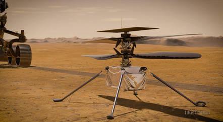 Na imagem, helicóptero Ingenuity