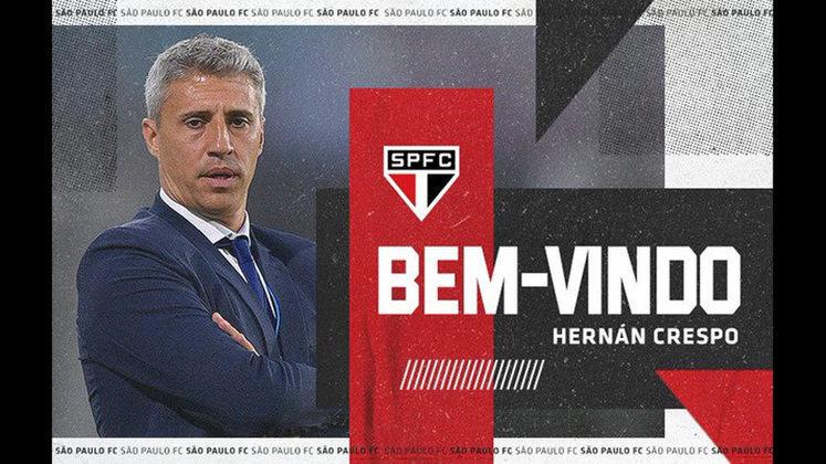Hernán Crespo - Ex-atacante, o argentino fechou contrato para ser o novo técnico do São Paulo por duas temporadas. Sua estreia deve acontecer no Paulistão, dia 28 de fevereiro, contra o Botafogo-SP