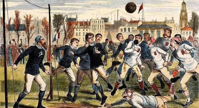 Final do Século XIX, idos do Futebol sem travessão e sem arqueiro fixo