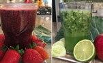 SUCOS FUNCIONAISSuco verde de couve, limão e pepinoIngredientes:½ limão½ copo de água de coco½ folha de couve picada1/3 de pepino½ maçãModo de preparoBata todos os ingredientes no liquidificador, coe e beba em seguida. De preferência, não adicione açúcarSuco antienvelhecimento de frutas vermelhasIngredientes:1 copo de suco de uva integral4 colheres de sopa de mirtilo ou blueberry5 morangos2 colheres de sobremesa de semente de chiaModo de preparoColoque todos os ingredientes no liquidificador e bata até que fiquem homogêneos. Em seguida, adicione o suco e as sementes de chiaSuco que turbina a refeiçãoIngredientes:3 laranjas½ cenoura1 colher de chá de gengibre raladoModo de preparoFaça um suco com as laranjas e depois coloque no liquidificador junto com as cenouras. Rale a raiz de gengibre (lembre-se de que pouco é suficiente), coloque no liquidificador junto com o copo de água, as cenouras e o suco das duas laranjas e processe até conseguir uma mistura homogênea.