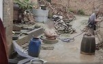 A cena foi gravada no quintal doSr. Liu, 28 anos, que mora na província deHenan, no centro da China