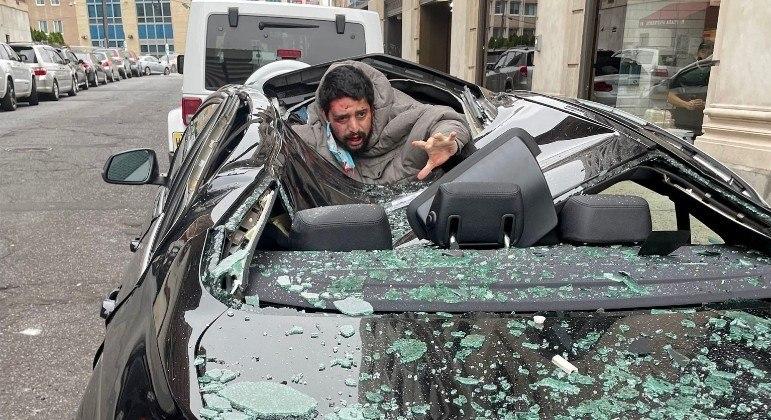 Homem despencou do 9º andar e atingiu BMW, em Jersey City, nos EUA