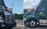 Um homem ensanguentado foi flagrado sobre o capô de um caminhão, que trafegava em uma rodovia da Flórida