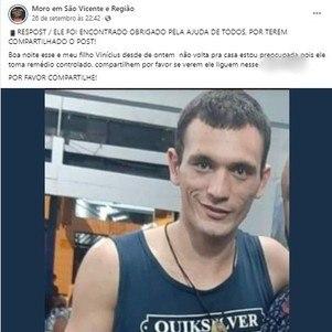 Família fez publicações nas redes sociais após desaparecimento de Vinícius