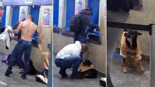 Homem tira a camiseta no metrô e veste cachorro que passava frio (Montagem/Reprodução)