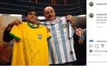Rivellino também homenageou o craque. Maradona dizia que o brasileiro era um de seus ídolos
