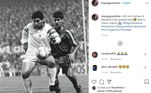 Guardiola, técnico do Manchester City, publicou uma foto quando jogaram um contra o outro e escreveu: 'Ainda não consigo acreditar.Maradona faleceu. Lenda. Descanse em paz'