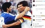 Craque alemão, Matthaus também homenageou Maradona. Na legenda: 'Meu amigo'