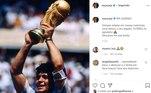 Neymar também homenageou Maradona. 'Sempre estarás em nossas memórias, você deixou o seu legado. FUTEBOL te agradece. Descanse em paz lenda'