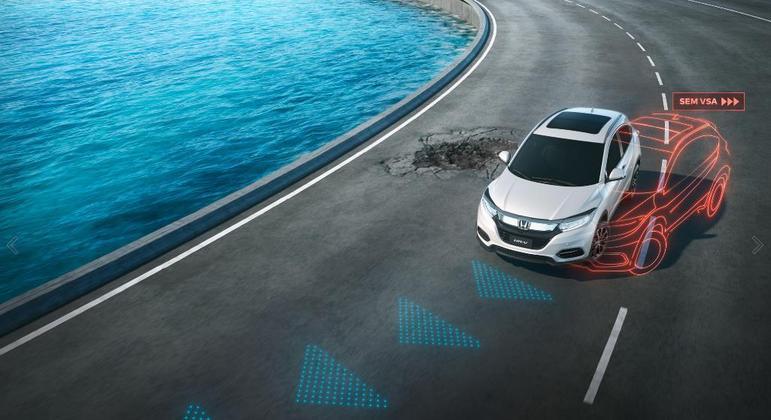 O Honda HR-V tem tecnologia VSA, assistente de estabilidade e tração que auxilia a condução mais segura
