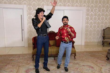 Rodrigo Faro e Luciano participam do quadro Dança Gatinho