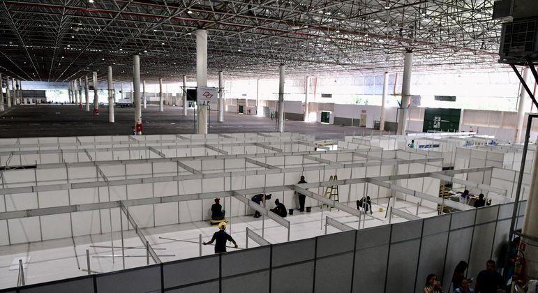 Hospital de campanha no Anhembi foi montado no ano passado para pacientes em enfermaria
