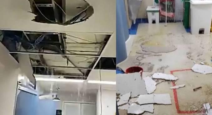 Parte do teto do hospital desabou após as chuvas
