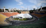Hospital de campanha montado no Estádio do Pacaembu para atender paciente com covid-19