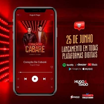 Hugo e Tiago seguem na ativa, e, nesta sexta-feira (25), vão lançar a música Coração de Cabaré em todas as plataformas digitais