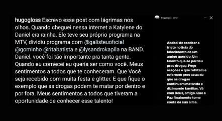 Publicação de Hugo Gloss no Instagram