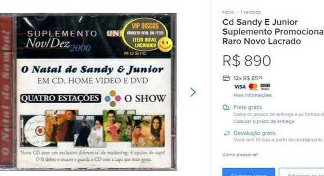 CD da dupla Sandy e Junior é vendido por quase R$ 1 mil na internet