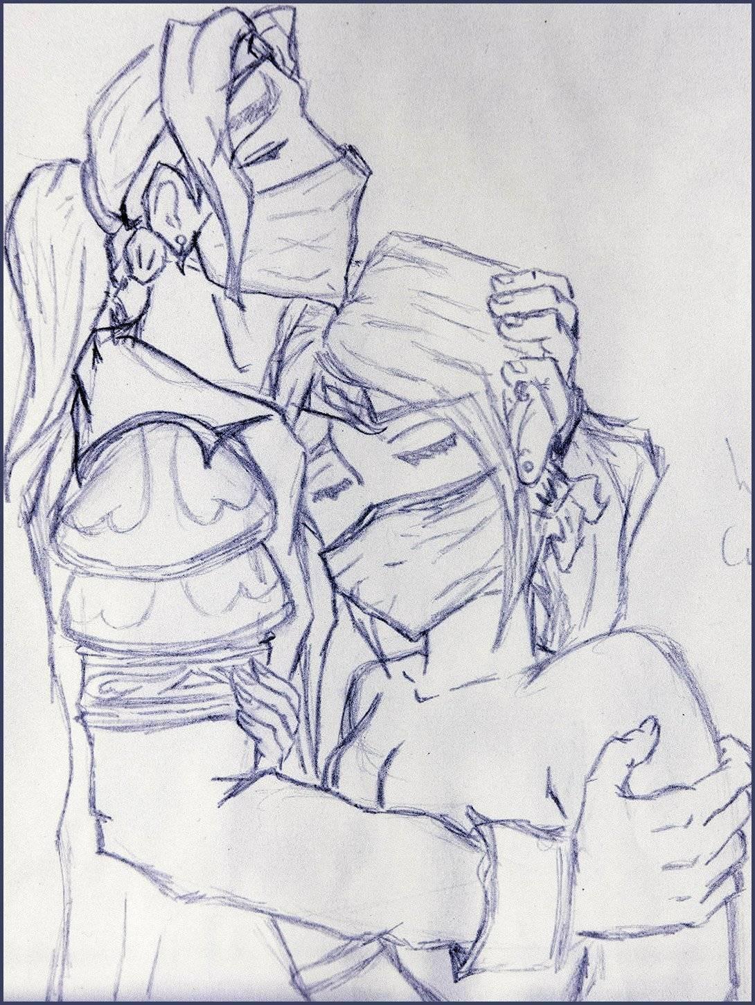 Ibelin abraça Rumour, desenho feito por Lisette Roovers