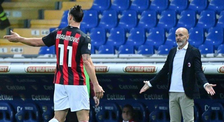Stefano Pioli, treinador do Milan, perplexo com a expulsão de Ibrahimovic