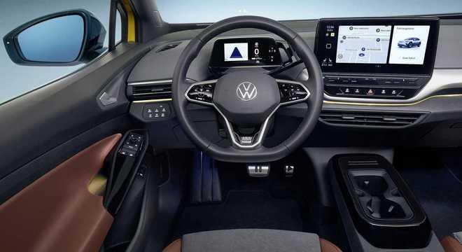 Interior do ID 4: duas telas digitais, uma de 5,3 e outra de 10 polegadas trazem informações do carro
