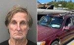 Um idoso foi flagrado com um poste de energia amarrado sobre o carro, em uma via da Flórida, nos EUA. A infração resultou na48ª prisão deDouglas Allen Hatley, 71