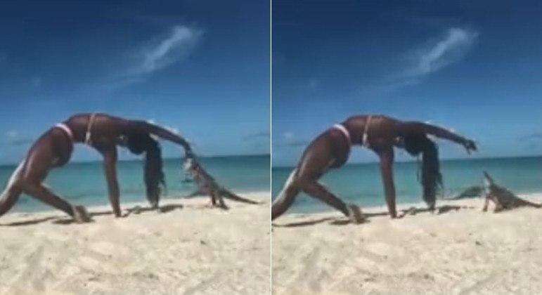 Iguana mordeu o dedo de professora de ioga em praia das Bahamas