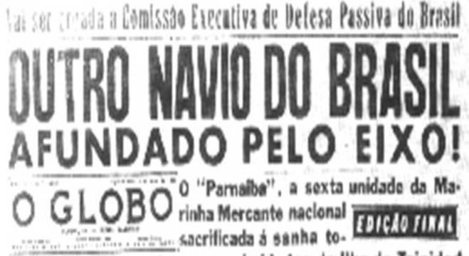 Na imprensa, o choque pelo Parnaíba torpedeado pelos submarinos alemães