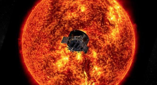 Ilustração artística mostra a Parker perto do Sol; nos próximos anos, objetivo é que a sonda chegue ainda mais perto da estrela