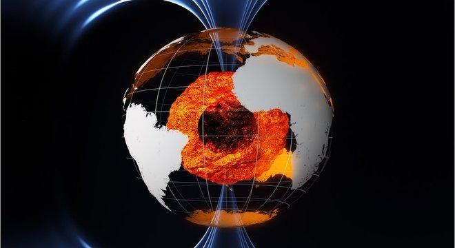 O campo magnético da Terra é gerado em seu núcleo externo