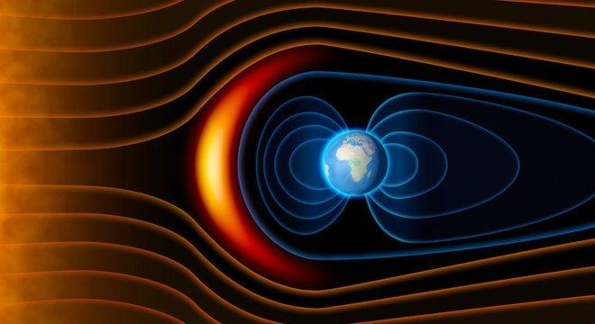 O campo magnético nos protege de partículas do vento solar
