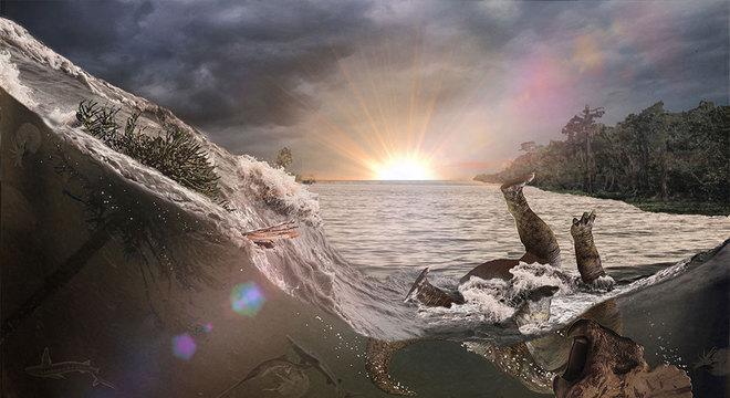 onda de choque sísmica teria provocado um tsunami, conhecido como seiche