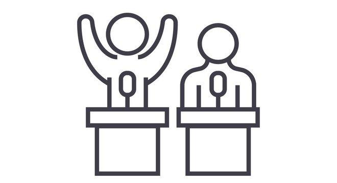 ilustração de duas pessoas num pulpito