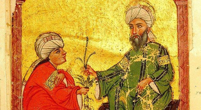 Imagem de uma versão árabe do século 13 do livro 'Materia Medica', de Dioscórides, em que o médico, farmacêutico e botânico da Grécia antiga está com um discípulo segurando um mandrágora