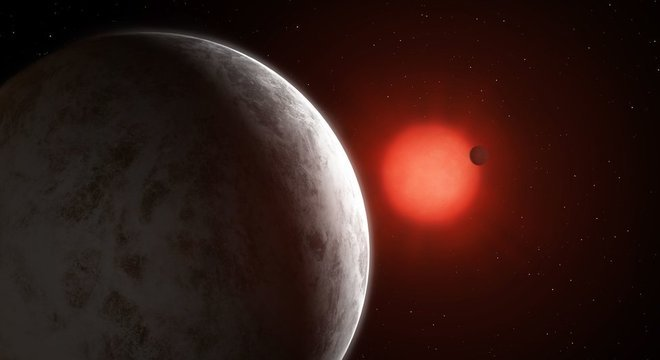 Por causa da proximidade à estrela GJ 887, os planetas têm órbitas mais curtas do que a que Mercúrio faz ao redor do Sol