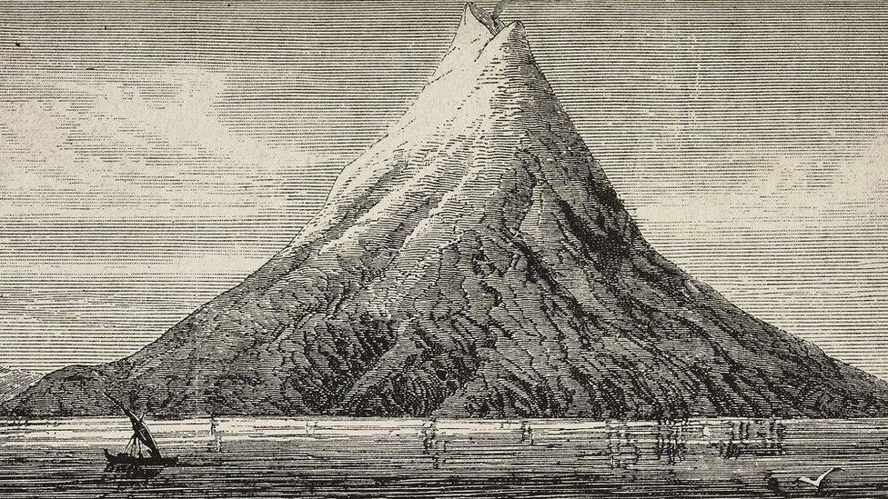 Ilustração do Krakatoa antes da erupção de 1883