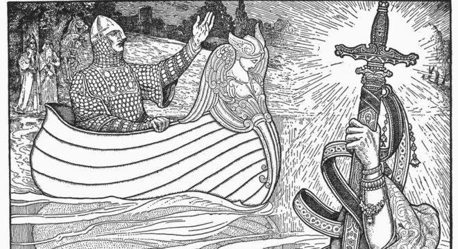 Na tradição anglo-saxã as espadas estão relacionadas com status; Arthur vira rei da Bretanha ao receber sua Excalibur da pedra
