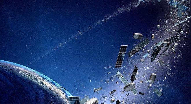 Lixo espacial, como os exemplos que aparecem nesta imagem, pode atingir e danificar veículos espaciais ativos