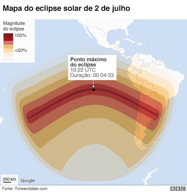 Ilustração mostra mapa exibindo o ponto máximo do eclipse solar de 2 de julhoi