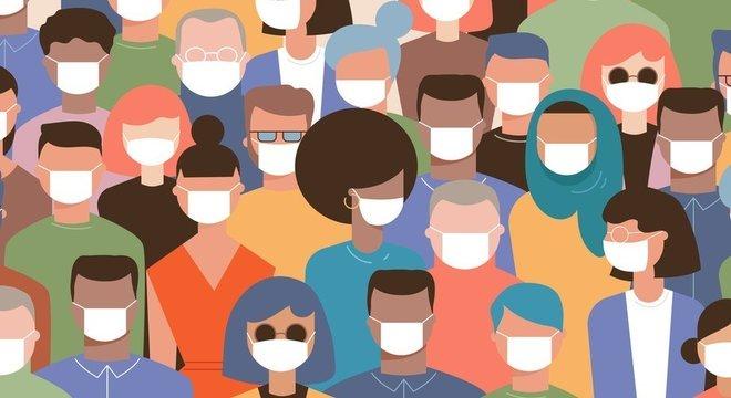 As máscaras são indispensáveis em ambientes onde há muita gente