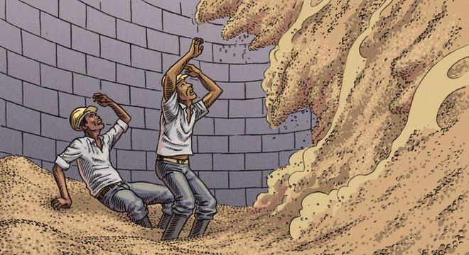 Quando massa de grãos está desnivelada no silos, deslocamentos podem soterrar trabalhadores em poucos segundos