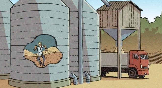 Mortes mais comuns em silos ocorrem quando trabalhador afunda na massa de grãos e é asfixiado