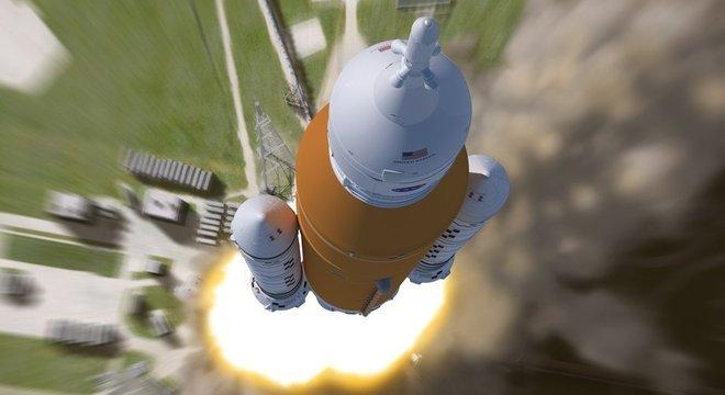 Ilustração: o foguete SLS fará seu voo inaugural no próximo ano