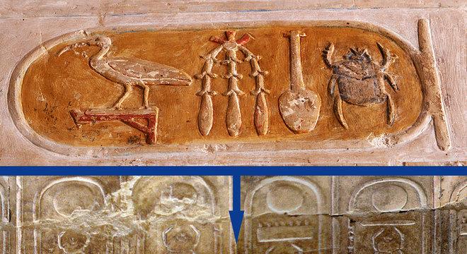 y Ochmann-HH Na parte superior, a representação do nome de Hatshepsut, que deveria figurar abaixo entre os de Tutemés II (69) e Tutemés III (70) na Lista Real